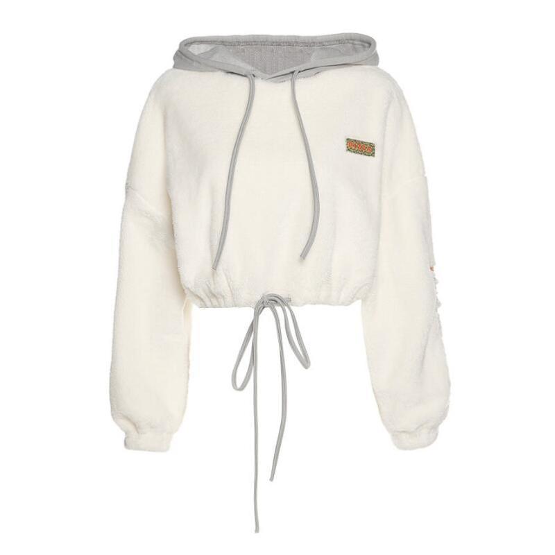 Sonbahar ve kış kadın katı renk gevşek mektup nakış uzun kollu kapüşonlu sweatshirt hoodies tişörtü