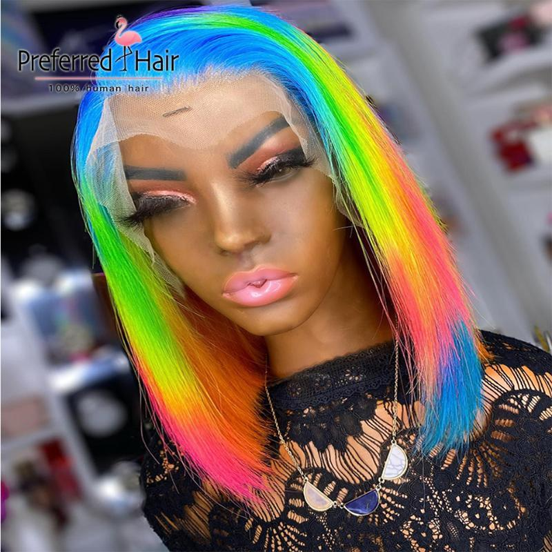 Dantel Peruk Tercih Edilen Mavi Sarı Gökkuşağı Bob Peruk Ön Klunged 13x4 Kadınlar Için Ön Yeşil Kırmızı Şeffaf İnsan Saç
