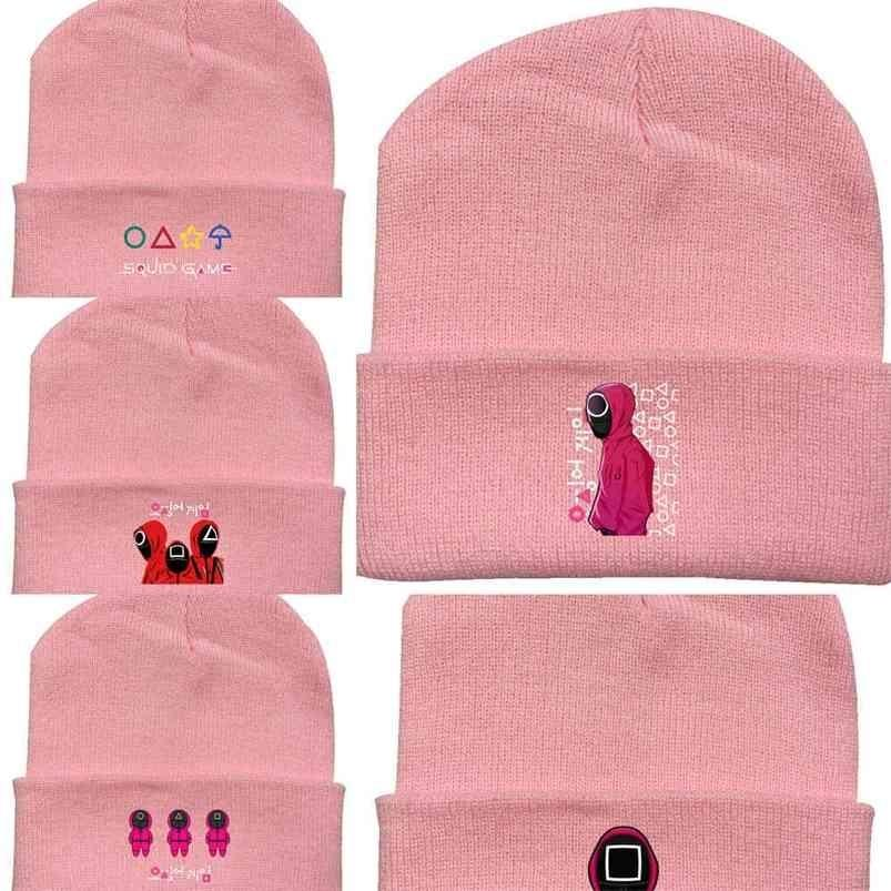 Squid Game 2021 Autumn Winter Warm Children's Boys Grils Knitted Hat Letters Printing Elastic Crochet Hats Casual Candy Colors Kids Beanie Skull Caps G01TNUR