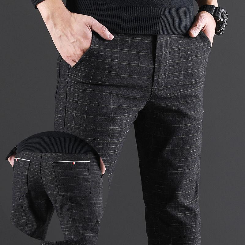 Mode Herren Casual Hosen Slim Fit Gerade Herren Plaid Jugend Kleid Formale Hose Schwarz Grau Blau