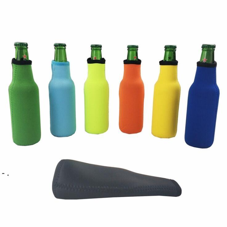 Beer Bottle Sleeve Neoprene Insulation Bags Holder Zipper Soft Drinks Covers With Stitched Fabric Edges Bareware Tool OWE8826