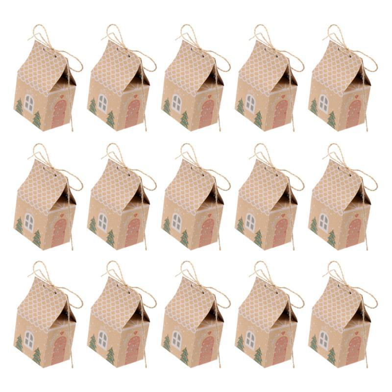 Gift Wrap 15pcs Kraft Paper Packing Box Christmas Candy Container Small House Design Case Party Supplies