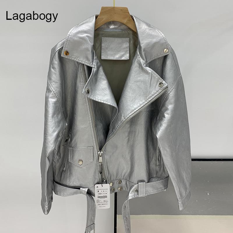 LagaBogy 2021 Spring Automne Femmes PU Faux Cuir Veste Femme Moto Motard Ziker Lâche Manteau d'argent avec ceinture Outwear Femmes