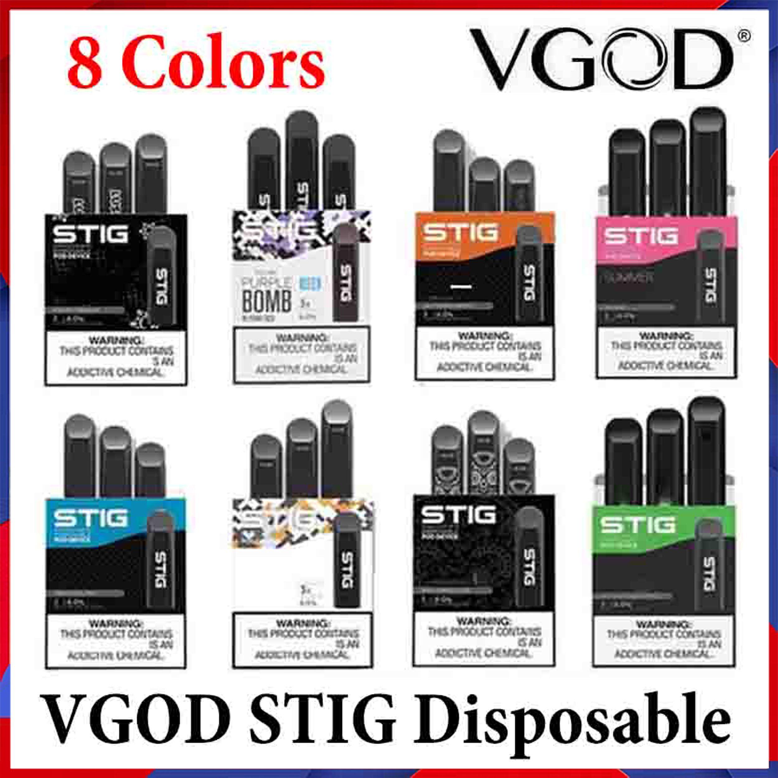 100% original VGOD Stig Descartável E Cigarro 8 Cores Pré-preenchido POD Dispositivo 3 PCS Pack 270mAh Bateria 1.2ml Cartucho Vape Pen Kit