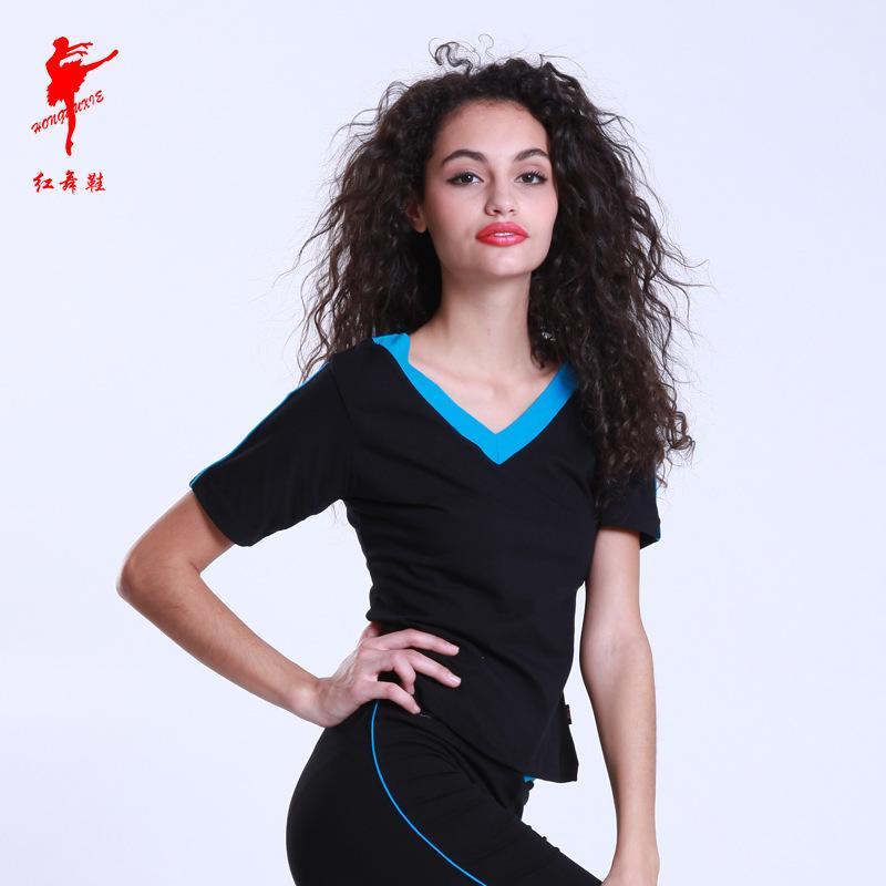 Doble verano nueva V camiseta para mujer color de moda Moda de manga corta Top Yoga Transitte de entrenamiento de danza 38432