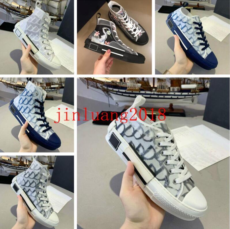 2021 Chaussures de sport design B23 Diagonal Haut Homme Homme et Femmes SneakersB24 Technique Toile Toile En Cuir Dames Casual Casual Shoe Bee Haut Qualité Mode de luxe 35-46
