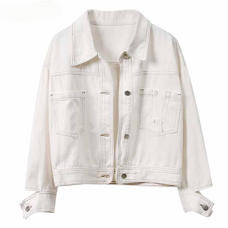 Gevşek gündelik iş giysileri ceket hırka yaka cep erken ilkbahar 2021 katı beyaz kadın açık dikişli denim ceketler 682 kadın