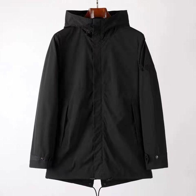 Cptopstoney 2021 Neue mittel- und lang lange Hoodie Herren Langarm Windbreaker Reißverschluss Hoodie Jacke Mode Outdoor Lange Jacke