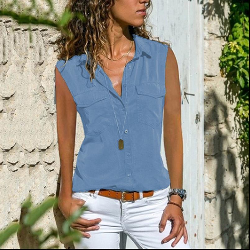 Blusas Kolsuz Katı Dönüş Bayan Gömlek Yaka Cepler Düğme Ön Üstler ve Bluzlar Lady Tee Femme