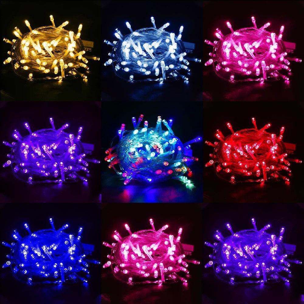 Vente en gros 10M 100LÉDS LED String Lampe AC220V AC110V 9 Couleurs Lampes de Feston Lampes à l'étanche Guirlande en plein air Vacances Décoration de Noël