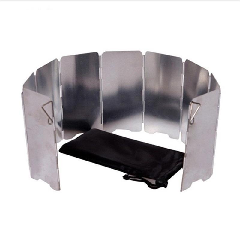 Vilead 9 placa de alumínio dobrável alumínio ao ar livre escudo de vento gás queimador de gás pára-brisa protetor de vento piquenique fogão de acampamento windscreen 516 Z2