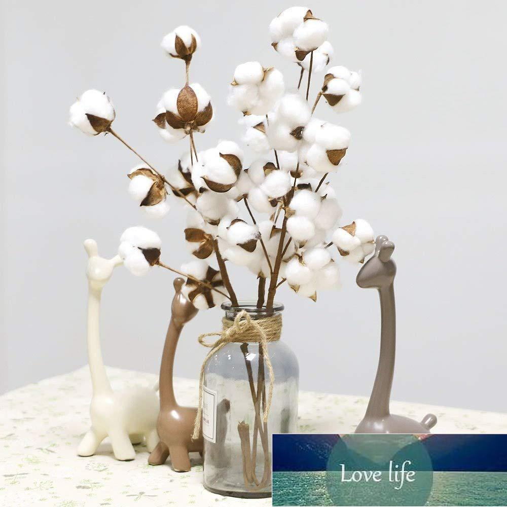 10 Heads Natural Dried Cotton Flower Artificial Plants Stem Floral Branch Wedding Party Decoration Fake Flowers Home Deco