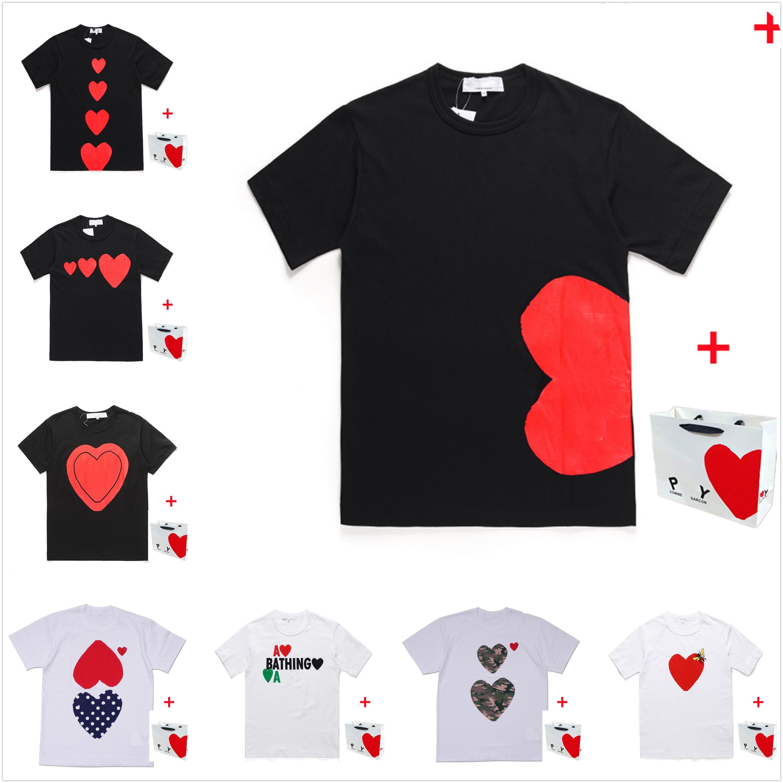 Homens Camiseta Alta Qualidade Manga Curta Mulheres T-shirt Coração Vermelho Verão Verão Tees Carta Imprimir Hip Hop Estilo Traga Tote Bag 0102