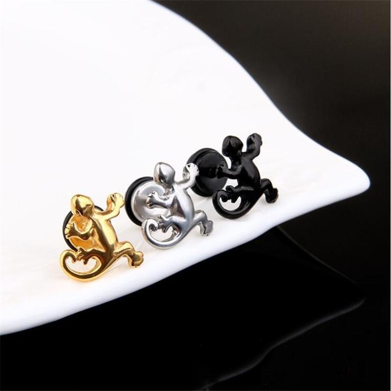 Fashion Punk Animal Gecko Titanium Steel Earrings Retro Men And Women Hip Hop Jewelry Dangle & Chandelier