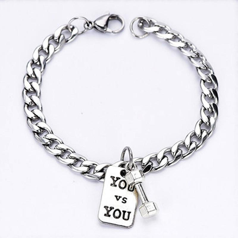 Link, Chain Punk Fashion Fitness Dumbbell Titanium Steel Letter Brand Stainless Bracelet Men's Jewelry Accessories