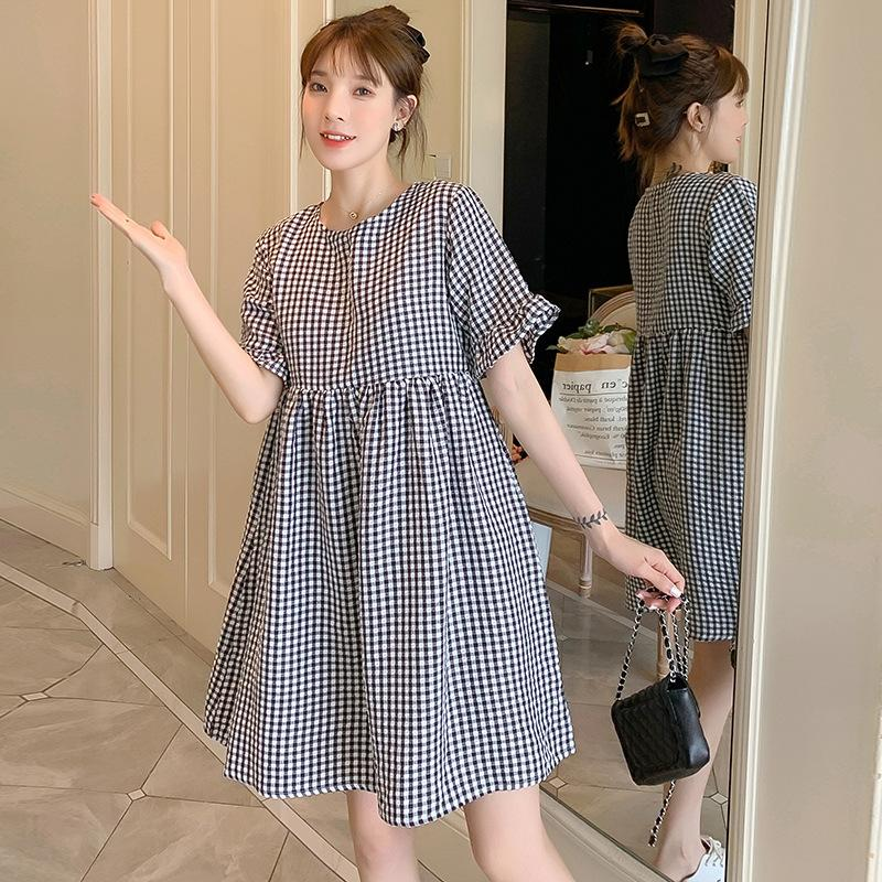 2021 New Brand Summer Maternity Dress Woman Casual Plaid Large Size Dresses Pregnant Woman Clothing 991 V2