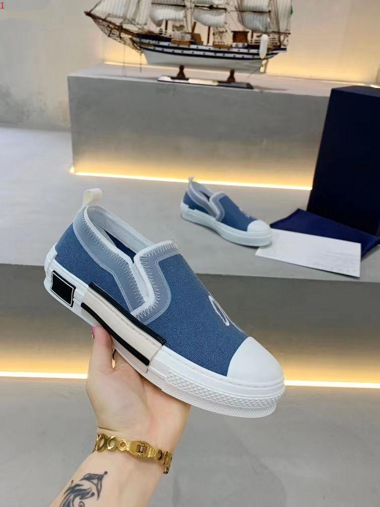 Dior 2021 Klasik Vahşi Nouveau Hommes Femmes Sport de Luxe Toile Sneakers Chaussures Top Qualité en Cuir Véritable Brodé EUR 35-45 MKJ003
