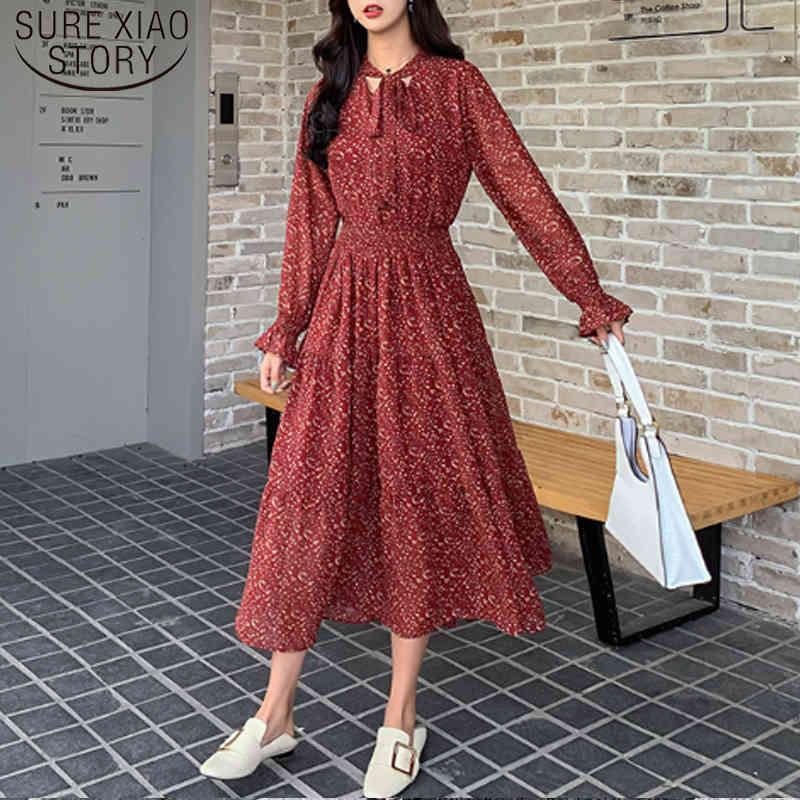 Lässige Frauen Frühlingsmode Chiffon Kleid koreanische stil längst ärmelig a linie druck gefalteter 8315 50 210512