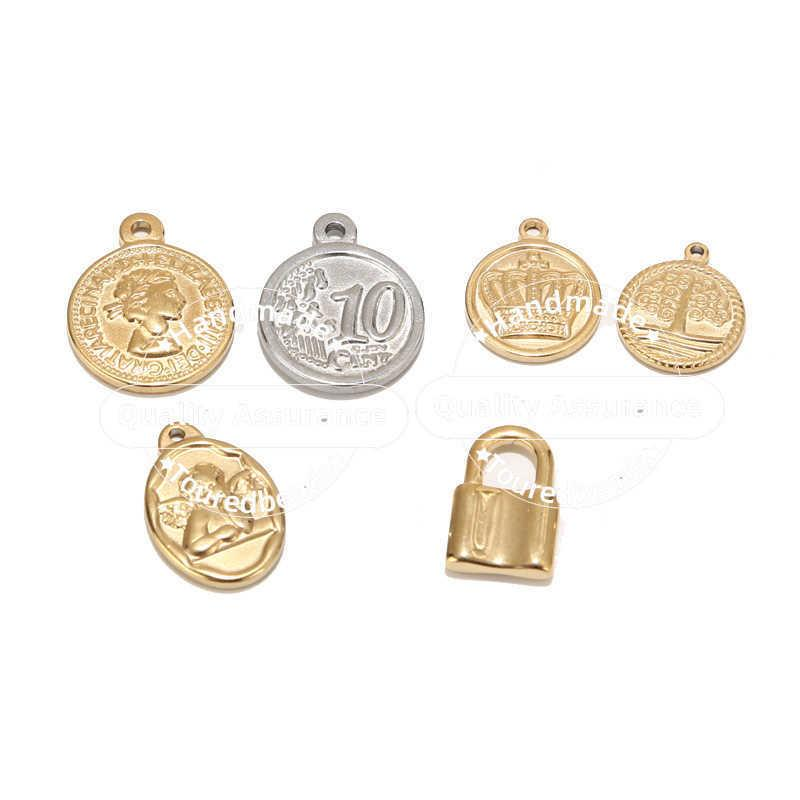 5 stücke Edelstahl Gold Schloss Medaille Charms Königin Angel Krone Leben Baum Anhänger Für DIY Halskette Schmuck Makings Zubehör A0603