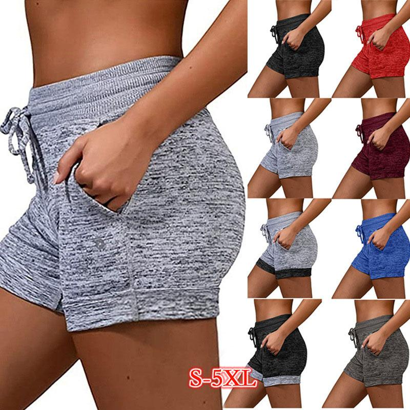 Foreign trade European and American women's leggings lace-up shorts sports hip-lifting fitness pants high waist elastic yoga