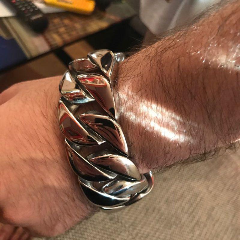 31MM Wide Shiny Cuba Big Bracelet Men Cool Punk Stainless Steel Jewelry Fashion Men's Bracelets & Bangles Hand Thick Chain Y1125