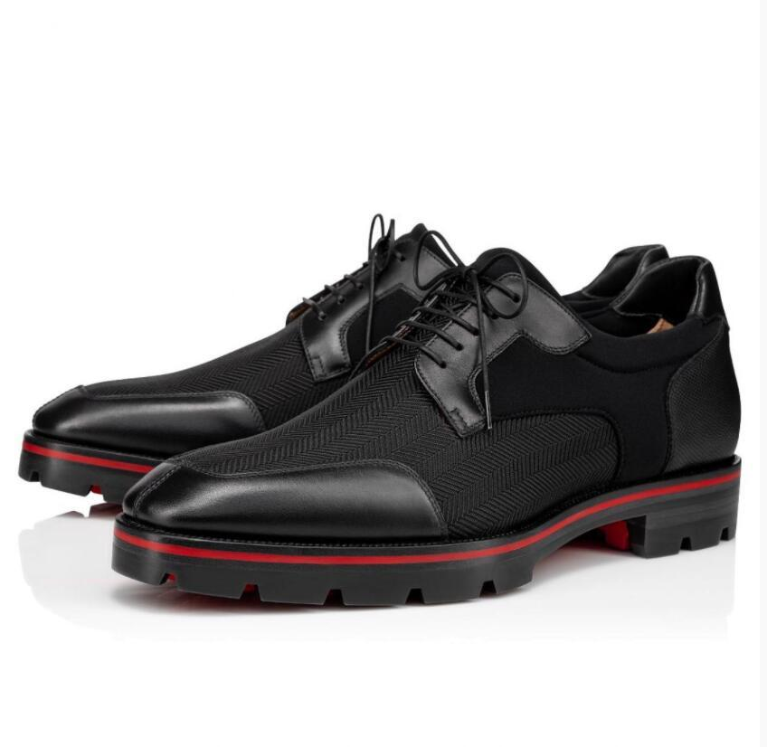 Hombre exitoso Red Bottom Oxford Zapatos Simon Sneakers Calfskin Cuerma de becerro Cuerpo Derby Lug Sole Mobores Walking --Party Boda de Negocios