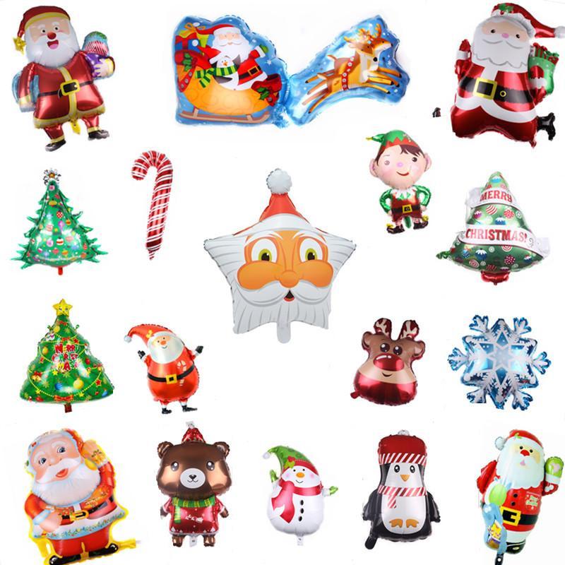 Feliz día de Navidad Foil Balloons Muñeco de nieve Santa Claus Ciervo Árbol de Navidad Decoración de Navidad Fuentes de fiesta Globo FY4821