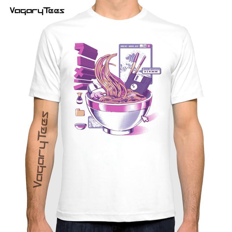 Homens camisetas Vagarytees 2021 verão homme casual harajuku engraçado t camisa japão anime estilo design web ramen camisetas homens unisex streetwe