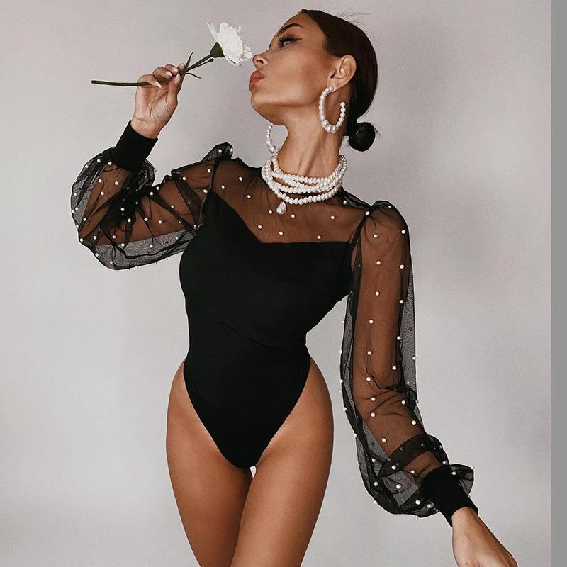 C5363 Sexy Rompere da donna Bodysuit Lady's Lace Maglia Patchwork Bodycon Shapewear tuta tuta Catsuit tute tute tute