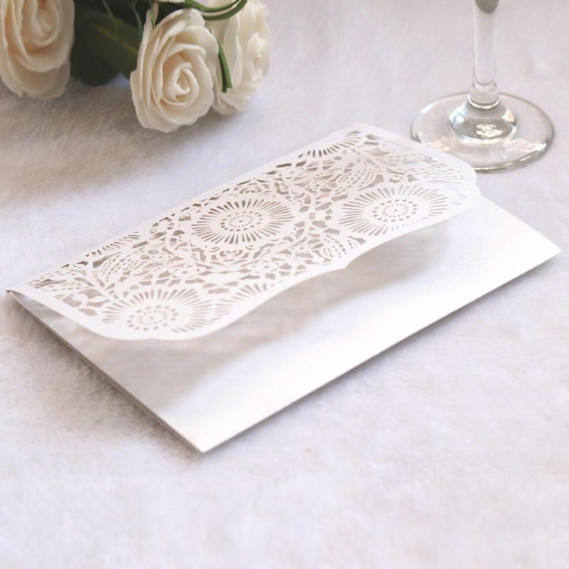 Greeting Cards 10pcs Wedding Invitation Card Stationery Paper Party Decoration Portable Floral Pattern Hollowed Out Craft DIY Delicate