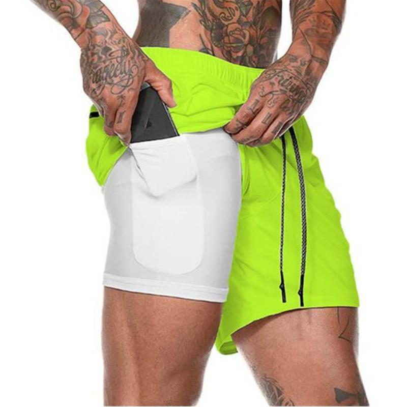 Pantalones cortos para hombres joggers hombres 2 en 1 gimnasios deportivos fitness culturismo entrenamiento rápido seco playa masculino verano corriendo