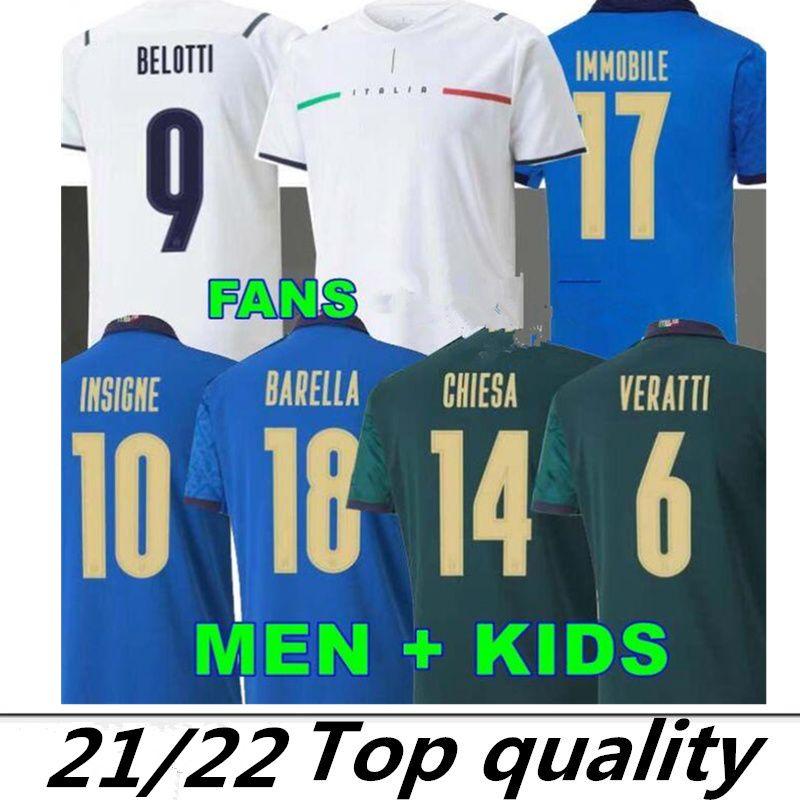 축구 유저 유럽 2021 이탈리아 이탈리아 Immobile Belotti Jorginho Insigne Verratti Bernardeschi Locatelli 남성 키즈 20 21 축구 셔츠 Chiesa Barella Berardi