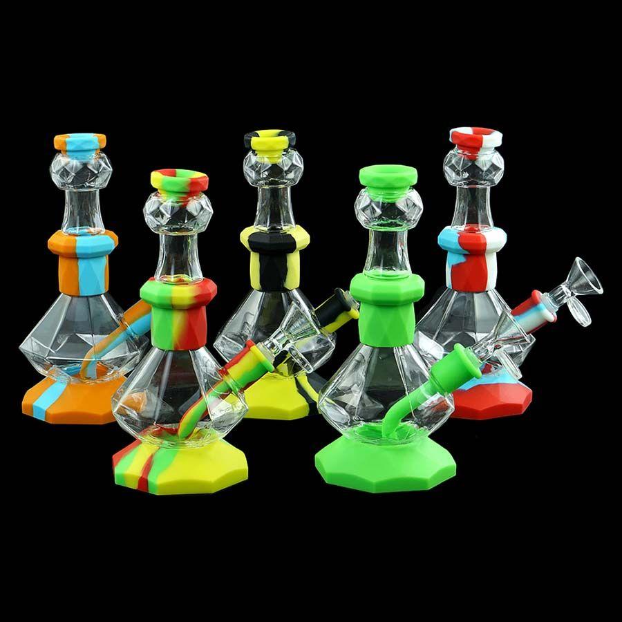 Elmas şekli su sigara damla ipuçları çok renkli cam silikon nargile