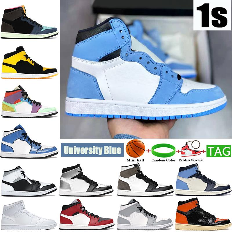 1 1s الجامعة الأزرق رجل كرة السلة الأحذية الظلام موكا الفضة الملكي تو براءات الاختراع الأسود الأبيض الظل الرجال المدربين النساء أحذية رياضية