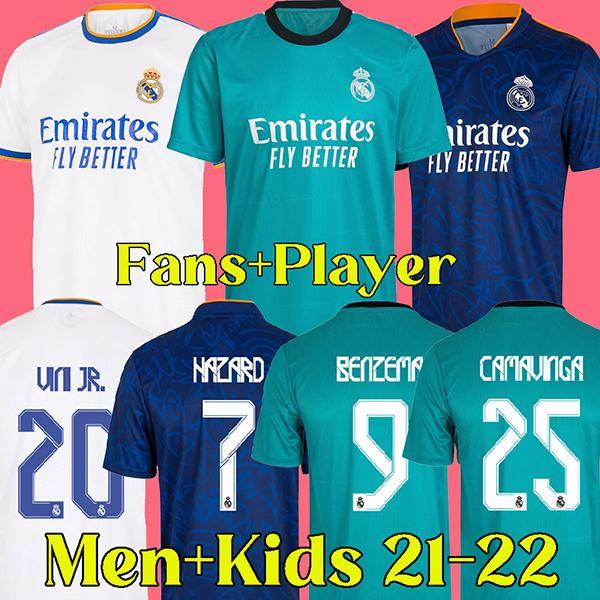 21 22 camisa de futebol real madrid 2021 2022 RMFC camisa de futebol real madrid fãs e versão do jogador kits masculinos e infantis BENZEMA ALABA PERIGO KROOS MODRIC ISCO ASENSIO