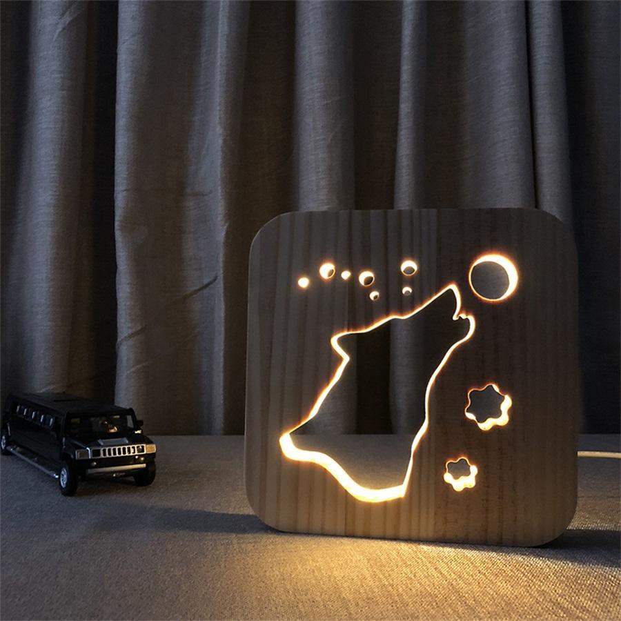 Yaratıcı 3d Ahşap Led Gece Işık USB Güç Karikatür Nightlight Ev Yatak Odası Dekor Lamba Hediye Çocuklar Için Kurt