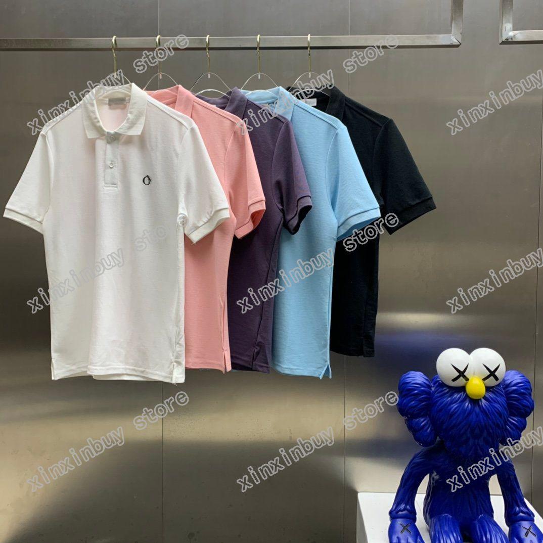 21ss Hommes Imprimé T-shirts Designer de luxe Paris Poitrine Pochette Motif de broderie Lettre Jacquard Tissu Vêtements Courts Manches Mens Hommes Shirt Tag Blanc Blanc