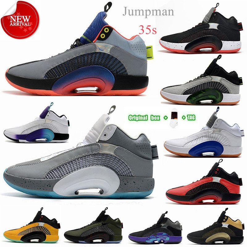 [Kutu ile] En Kaliteli Erkek Basketbol Ayakkabıları Jumpman 35s Ağırlık Merkezi 35 Union Bred Bayou Erkek DNA Morpho Kardeşhood Adam Eğitmenler Siyah Beyaz Kırmızı Spor Sneakers # 12