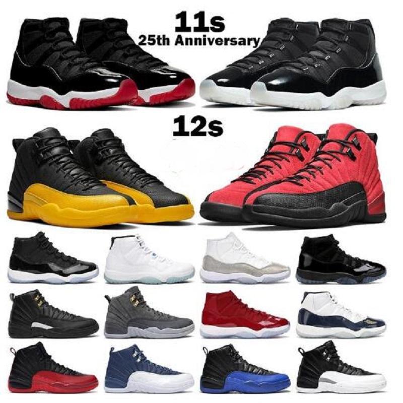 أحذية كرة السلة الرجال النساء 12S jumpman 12 عكس الانفلونزا لعبة جامعة الذهب إنديجو رمادي غامق 11S اليوبيل 25th الذكرى 25 bred كونكورد رجل أحذية