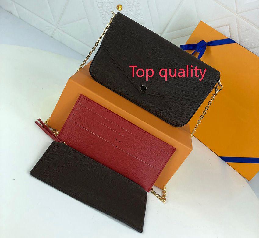 Top Qualität Frauen Geldbörse Mode Brieftasche Umhängetaschen 3 stücke Set Kette Paket Luxurys Designer Taschen 2021 Handtaschen PU Leder Dame Handtasche Großhandel