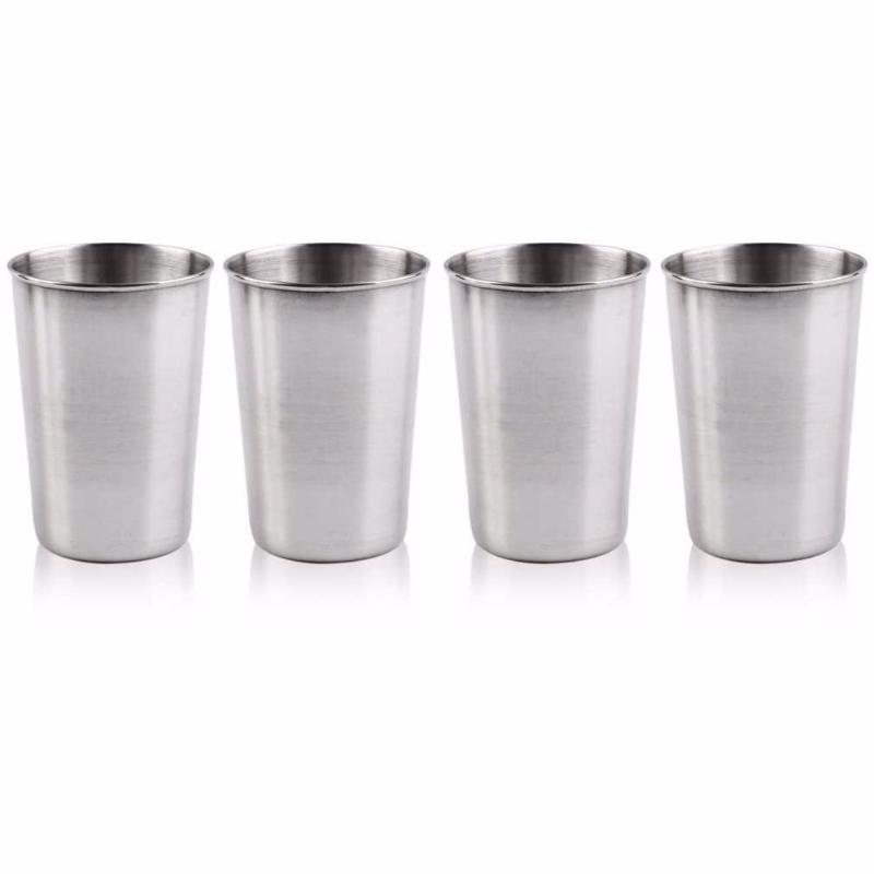Camp Kitchen 4 Pcs/set Home Eco Friendly Portable Stainless Steel With Storage Bag Camping Cup Travel Drinking Coffee Outdoor Sports Double