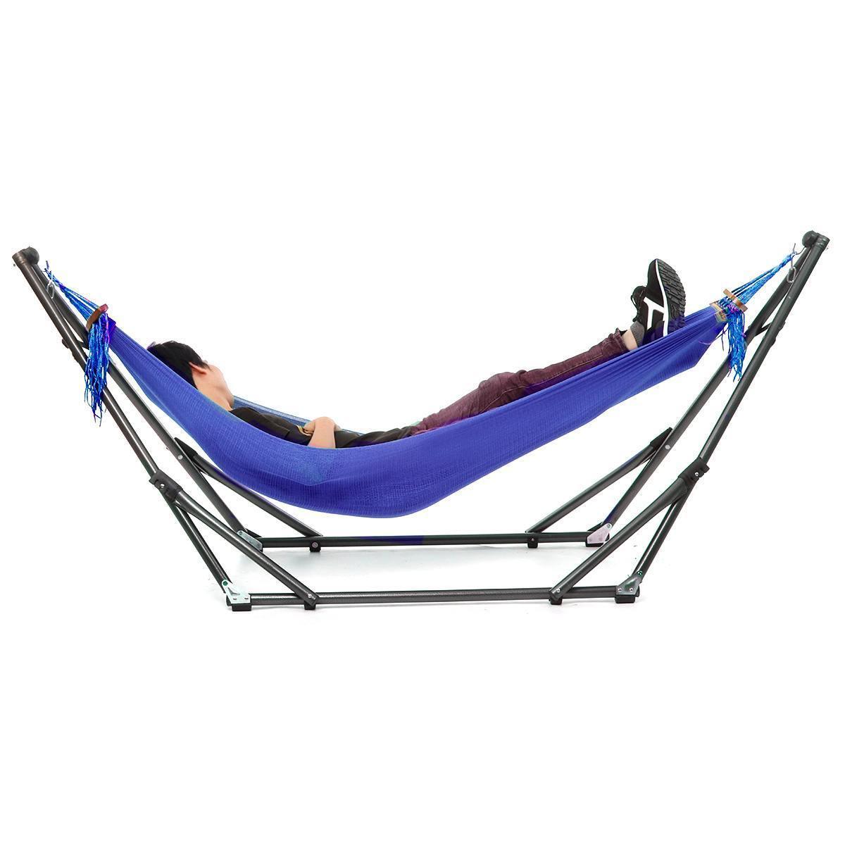 Portátil Dobrável Tubulação de Aço Sleep Switch Hammock Stand Bag Kit Grupo Jardim Outdoor Hunting Camping Mobiliário 250KG