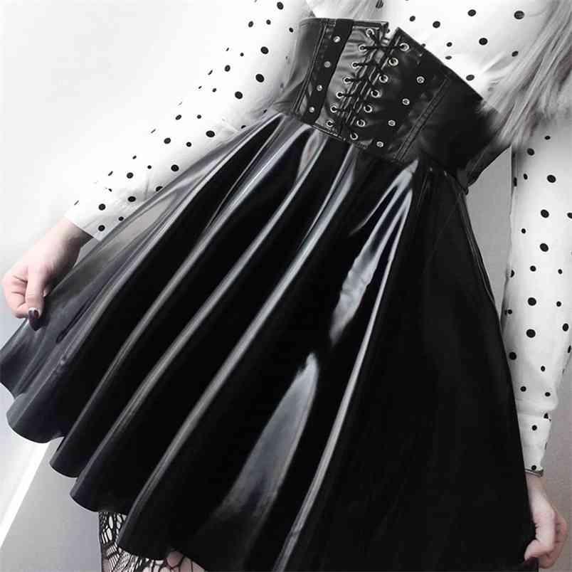 SUCHCUTE Women's Skirts Gothic Harajuku Bandage Faux Leather Korean Fashion Black Mini Pleated Skirts Summer Party Pu Saias 210408