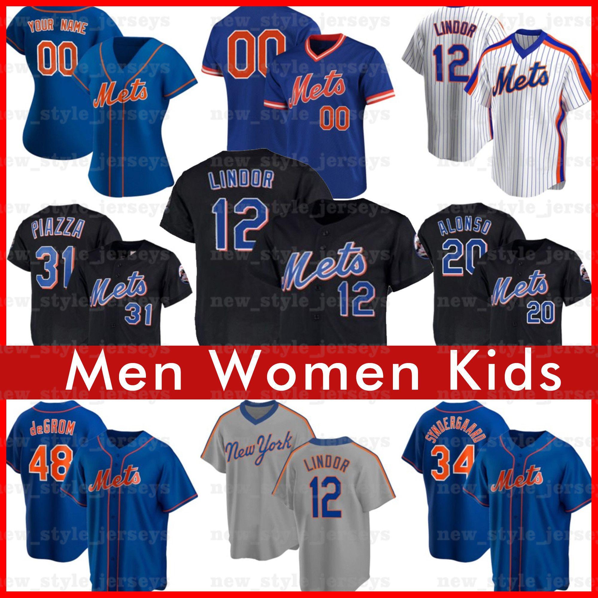 12 Francisco Lindor 20 Pete Alonso Jersey Jersey Hommes Femmes 48 Jacob Degrom Keith Hernandez Mike Piazza Jeff McNeil NouveauYorkMalaise