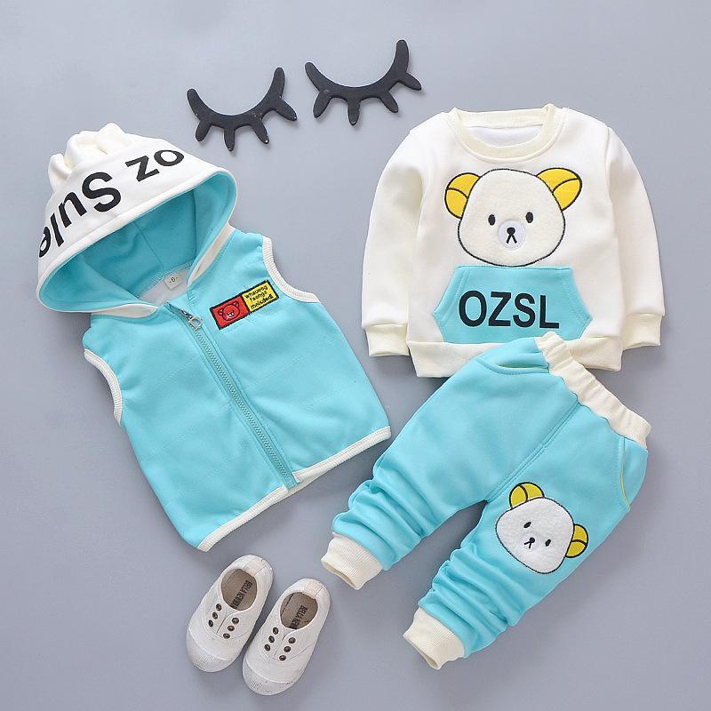 Ragazzi Girls Autunno Cappotto a vita calda + Felpa + Pantaloni 3pcs Infant Bambini Bambini Sport Sport Suit Bambino Vestiti carino rosa