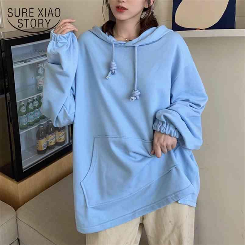 Casual Plus Size Loose Hoodies Women Cotton Sweatshirt Autumn Lady Solid Pullover Long Sleeve Korean Clothes Chic 12000 210421