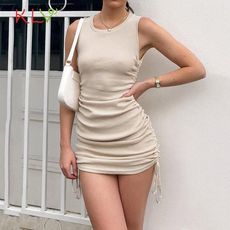 Yaz Dantelli Elbise Rahat Yan İpli Seksi Bodycon Elbiseler Kadın Kolsuz Katı Zarif Parti Sundress Mujer Vestidos