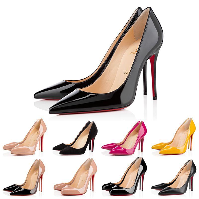 Con caja rojo fondo tacones zapatos para mujer zapatillas de deporte zapatillas de deporte tacón alto para kate estilos de kate puntiagudo de punta redondos bombas de fondos de cuero de gamuza triple negro