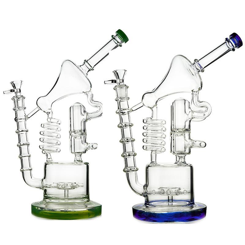 12inch recycler hookahs tubulações de água de vidro canecas sidecar percolador matriz perc bongs exclusivos plataformas de óleo 14.5mm articulação feminina com tigela wp558