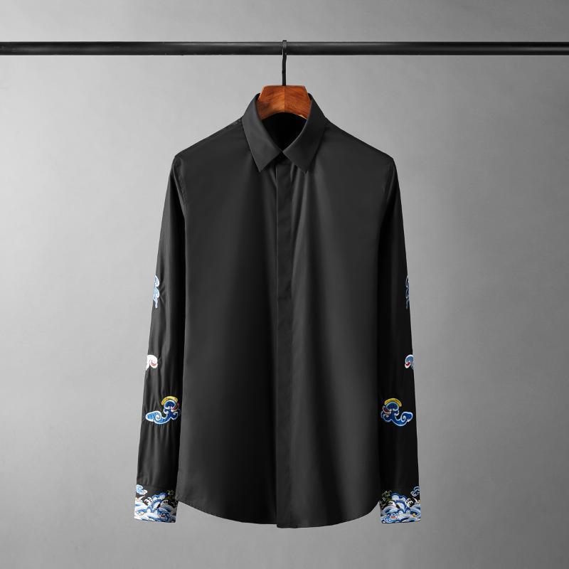 클래식 긴 소매 망 셔츠 럭셔리 길조 구름 자수 캐주얼 파티 남성 슬림 맞는 남자 4XL 남자